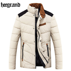 HEE GRAND New Men Korean Style Slim Solid Stand Collar Jackets And Coats Youth Fashion Warm Cotton Clothes MWM1433
