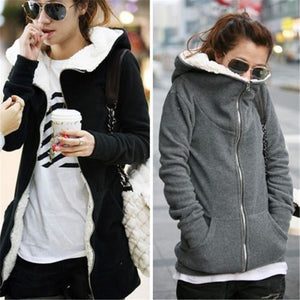 ZANZEA 4XL Winter Coats 2017 Autumn Women Long Hoodies Sweatshirts Casual Thick Fleece Zipper Outerwear Hooded Jacket Plus Size