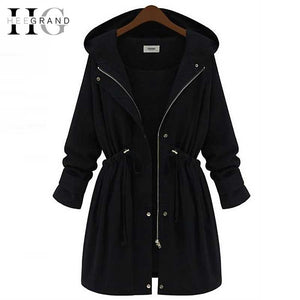 HEE GRAND 2017 Women Outwear Hooded Trench Coat Manteaux Femme Adjustable Waist Autumn Coats  Abrigos Mujer Plus Size 4XL WWD289