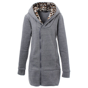 ZANZEA Women Coats 2017 Winter Warm Hoodies Outerwear Coat Fashion Ladies Hoody Sweatshirts Slim Leopard Jacket Plus Size