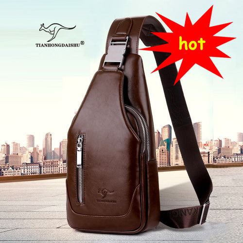 2017 new arrived Men's casual Shoulder  PU leather Crossbody Bags travel Chest pack  Messenger bag With USB Interface