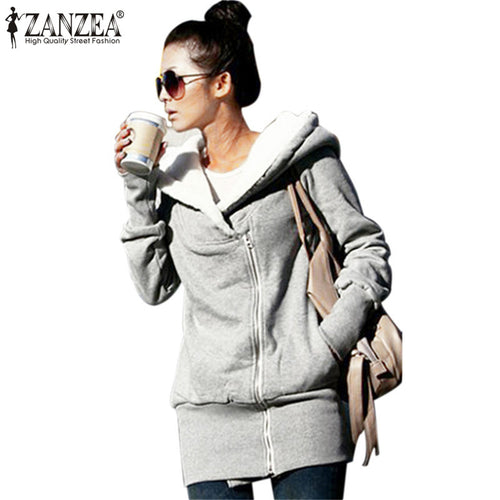 ZANZEA 2017 Womens Hoodies Overcoat Winter Warm Fleece Coat Zip Up Outerwear Hooded Sweatshirts Long Jacket Parka Plus Size 3XL