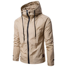 Autumn Spring Fashion Casual Short Jacket Men's Full Zip Up Neck Loose Hooded Thin Windproof Sunscreen Jackets Tracksuit Joggers