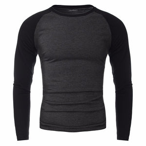 2017 New Fashion Casual Color Stitching Cotton T-shirt Men Long Sleeved Round Neck T shirt Slim Fit Male Basic Tee Top Plus Size