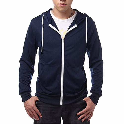 Zipper Coat 2017 New Simple Men Solid Hoodies Casual Slim Hooded Fashion Mens Sweatshirts Plus Size S-XL 4 Colors