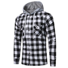 2017 Autumn Men Plaid Check Hooded Shirt Blouse Buttons Long Sleeve Casual Slim Fit Hoodies Blusas Tops Sweatshirt Sportswear