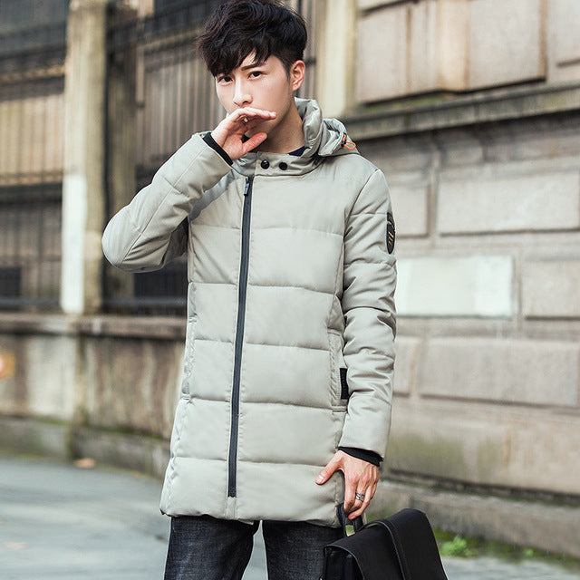 Winter Long Puffer Jacket Men Youth Thicken Down Coat Hooded Zipper Cotton Padded Male Windproof Warm Parka Jackets Korean Style