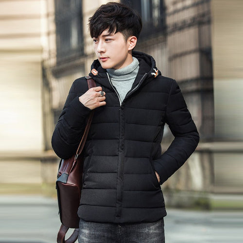 Winter Puffer Jacket Men's Thicken Down Coat Men Youth Slim Fit Hooded Padded Male Windproof Warm Parka Jackets 3XL Plus Size