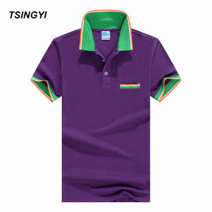 Tsingyi Summer Solid Crocodile Polo Shirt Men Striped Neck 100% Cotton For Youth Mens Polo Shirts Fashion Camisa Homme Tops Tees
