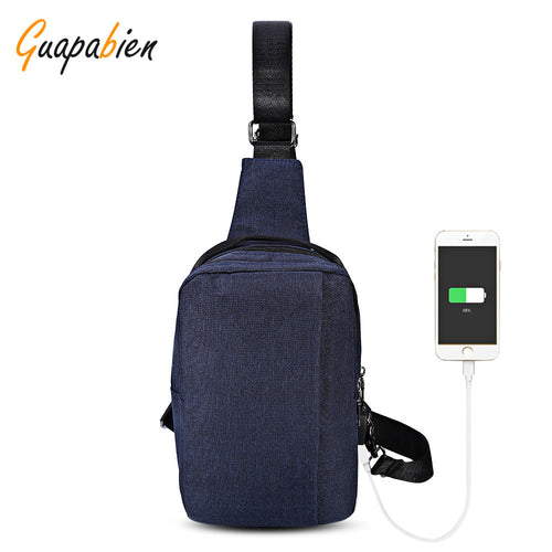Guapabien New Arrival USB Charge Port Cable Casual Shoulder Crossbody Chest Bag Fashion Travel Crossbody Bag Messenger Bag