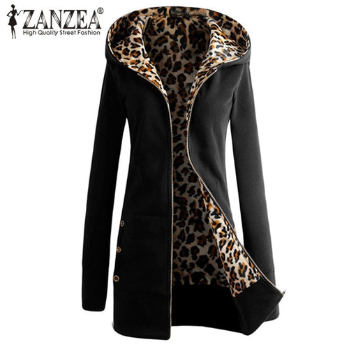 ZANZEA Winter Warm Coat 2017 Women Long Sleeve Zip Up Hooded Coat Jacket Leopard Fleece Jacket Femme Long Outerwear Plus Size