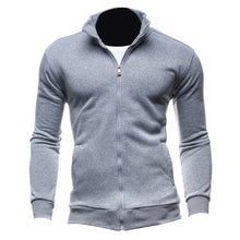 2017 Mens Autumn Winter Solid Hoodies Plus Size Sweatshirt Slim Fit Stand Collar Front Zipper Casual Long Sleeves Outwear Hoody