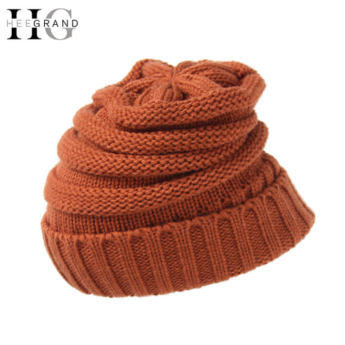 HEE GRAND 2017 Winter Knitted Beanies Unisex Hat for M Red Christmas Hats For Women Women Cute Beanie Caps Wholesale PMT084