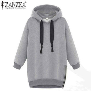 Zanzea Women Hoodies 2017 Autumn Winter Warm Long Sleeve Hooded Sweatshirt Casual Loose Oversized Sweatshirts Plus Size