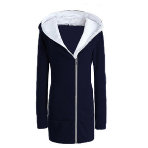 ZANZEA Oversize Women Hoodie Sweatshirt Autumn 2017 Winter Coat Casual Long Coat Pockets Zip Outerwear Hooded Jacket Top 9 Color