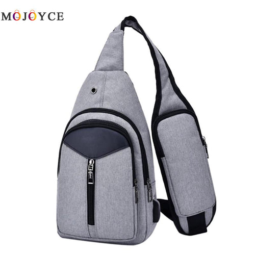Men Canvas USB Fast Rechargeable Casual Chest Pack Fashion Messenger Bags  Small Bag CrossBody Shoulder Bag Leisure Travel Bag
