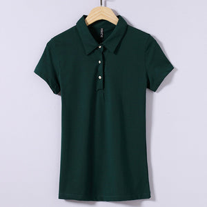 BabYoung 2017 Summer Tops Women Casual Polo Shirt Mujer Short Sleeve Cotton Polos Femme Green Polo Feminina Plus Size M~4XL
