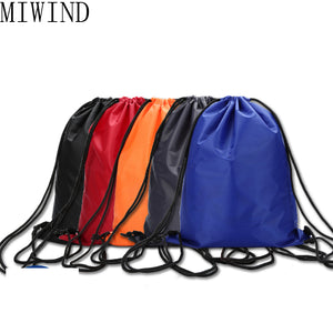 MIWIND  Simple Unisex Backpack Nylon Drawstring Cinch Sack Beach Travel  Shoulder Bag Thin Backpack Women and Men Bag TZP031