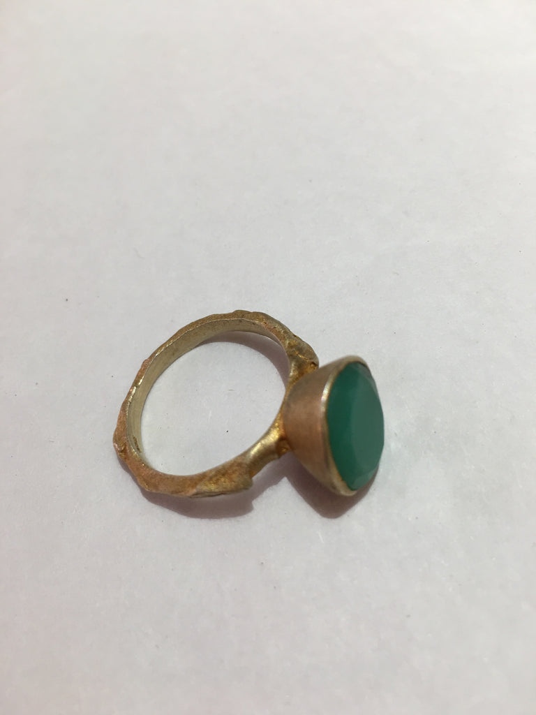 Pip Portley 18ct gold plated twin ring with green quartz