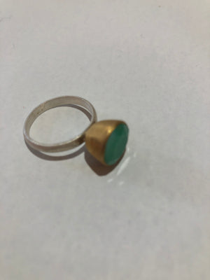 Pip Portley - Silver and Gold Ring with Green chrysoprase