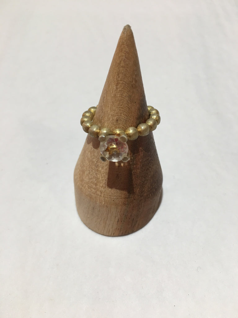 Pip Portley bobble ring in matt gold plated silver and green ame