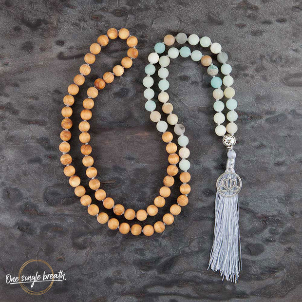 32inch Knotted Mala Beads Necklace Yoga Gifts,Rainbow Fluorite Beaded Necklaces,Round Coin Amazonite Teardrop Labradorite Pendants Necklace