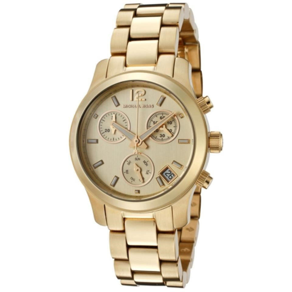 Details about Michael Kors Women's MK5384 'Runway' Chronograph Gold Tone Stainless Steel Watch