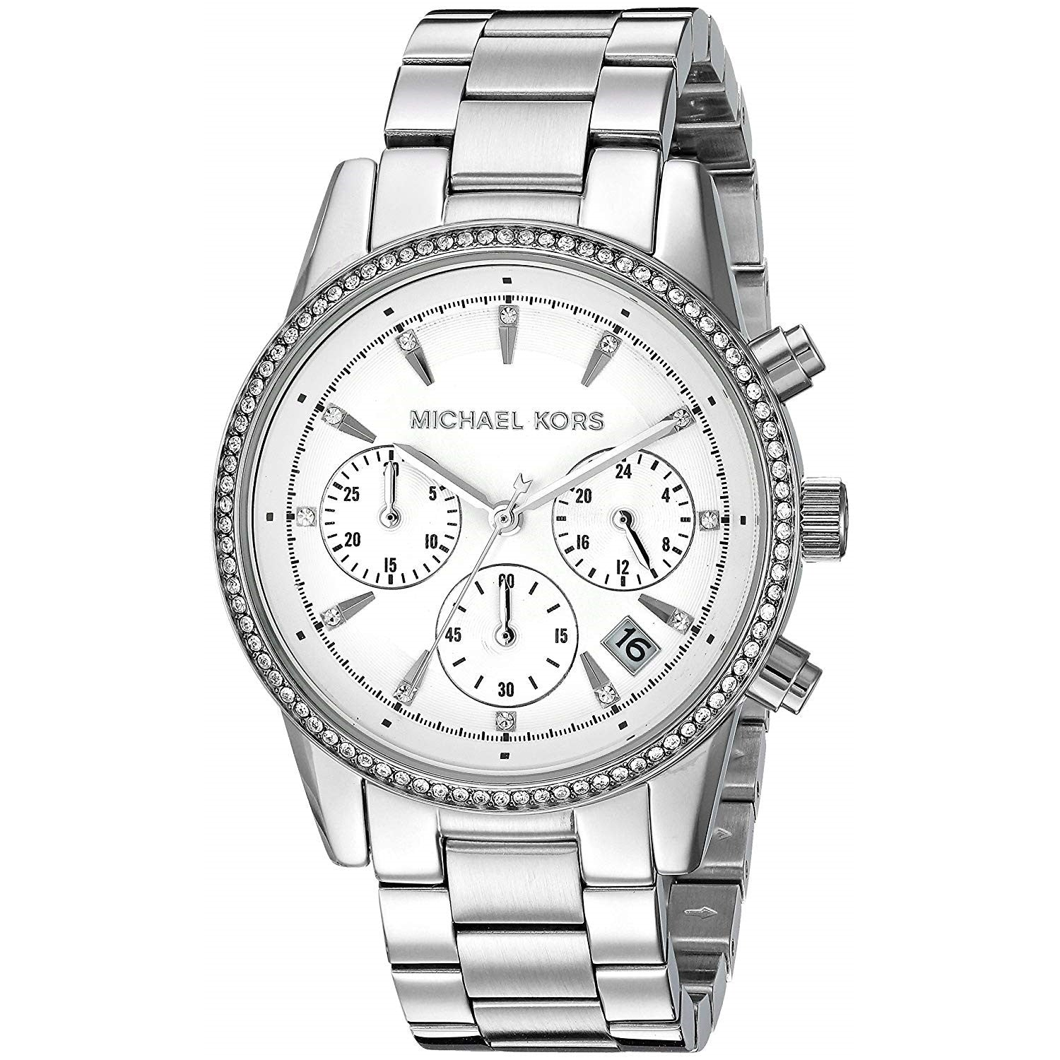Details about Michael Kors MK6428 Ritz 39MM Women's Chronograph Crystal Stainless Steel Watch
