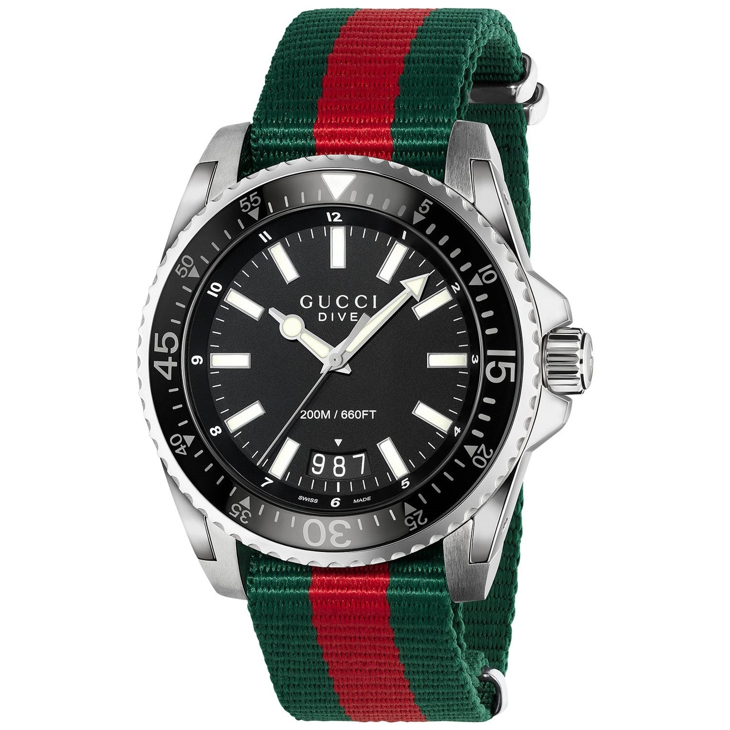 Gucci YA136206 Dive 45MM Men's Green and red Nylon Watch