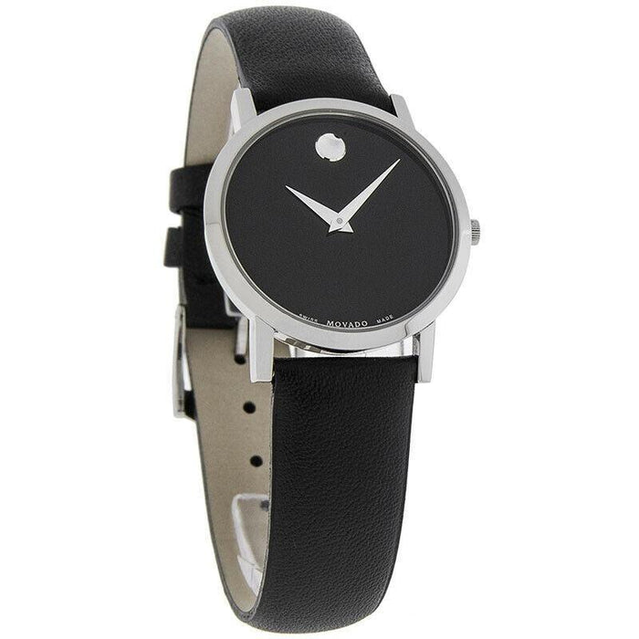 Movado Women's 0606130 Museum Black Leather Watch
