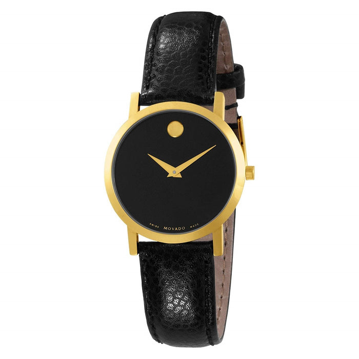 Movado Women's 0606131 Museum Black Leather Watch