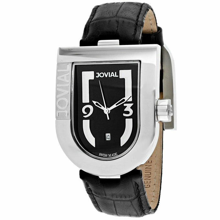 Jovial Men's 06406-GSL-04 Classic Black Leather Watch