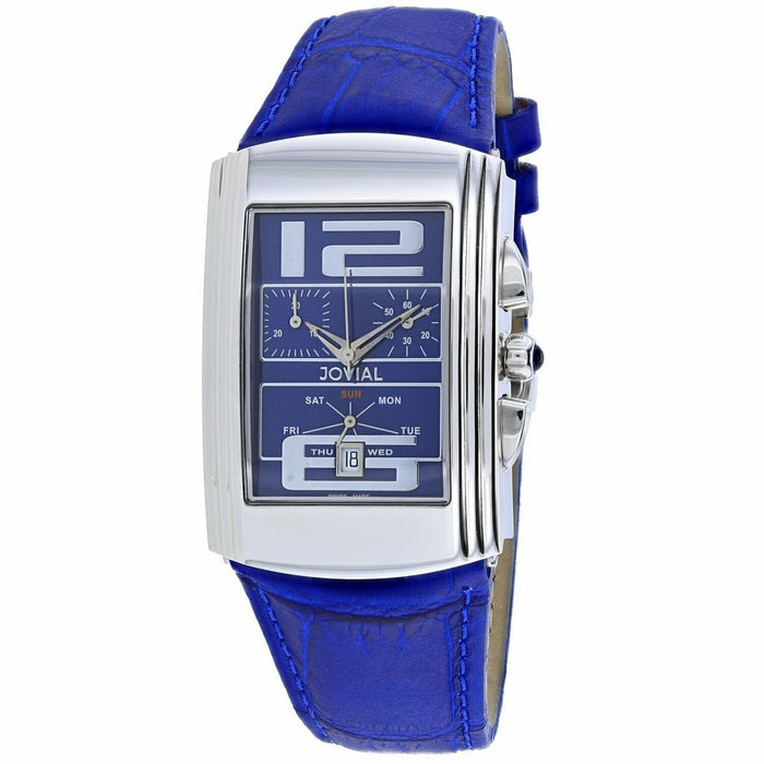 Jovial Men's 08003-GSLC-03 Classic Chronograph Blue Leather Watch