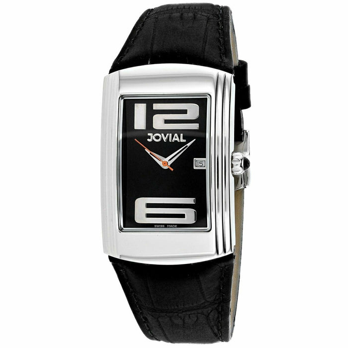 Jovial Men's 08004-GSL-04 Classic Black Leather Watch