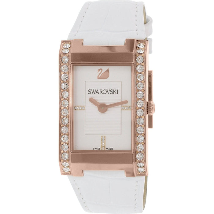 Swarovski Women's 1094370 Citra Square Crystal White Leather Watch