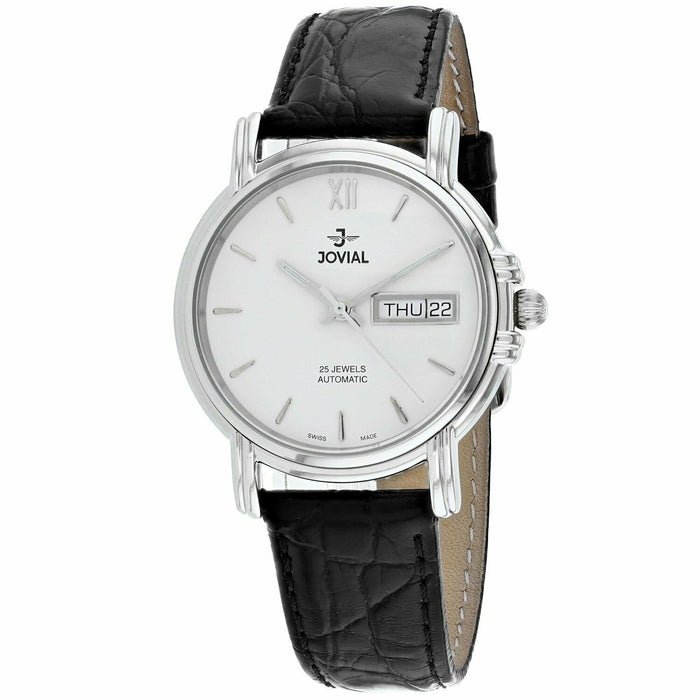 Jovial Women's 11003-GSLA-01 Classic Black Leather Watch