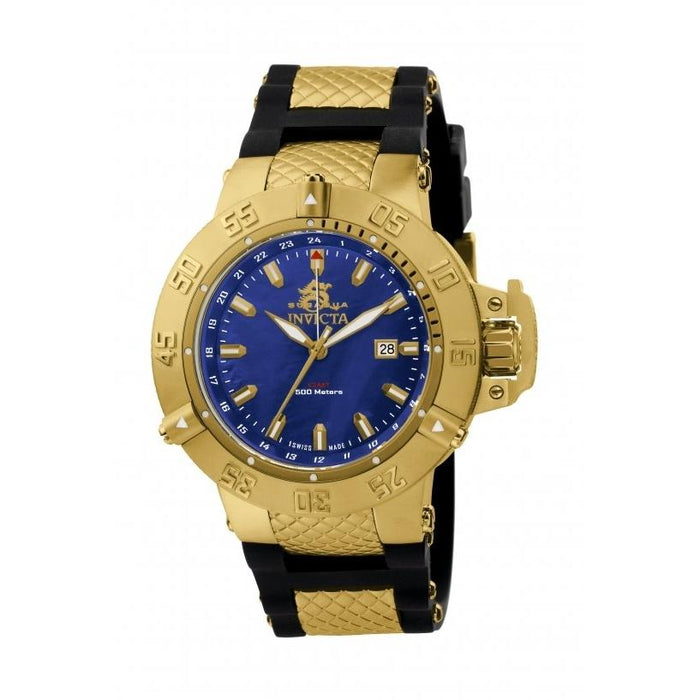 Invicta Men's 1150 Subaqua Noma III GMT Black and Gold-Tone Polyurethane and Stainless Steel Watch