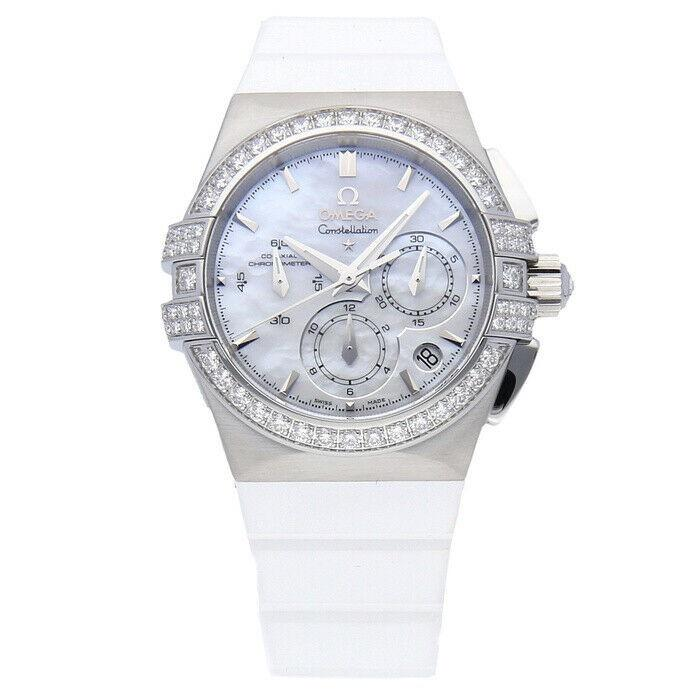 Omega Women's 121.17.35.50.05.001 Constellation Double Eagle Chronograph Chronograph White Rubber Watch