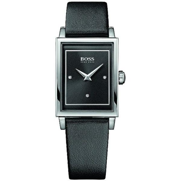 Hugo Boss Women's 1502348 Crystal Black Leather Watch