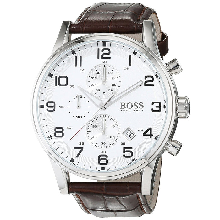 Hugo Boss Men's 1512447 Black Chronograph Brown Leather Watch