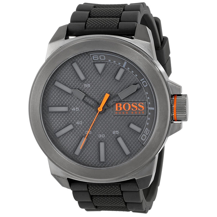 Hugo Boss Men's 1513005 Orange Grey Silicone Watch