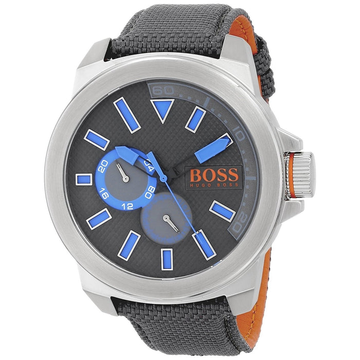 Hugo Boss Men's 1513013 Orange Chronograph Grey Nylon and Leather Watch