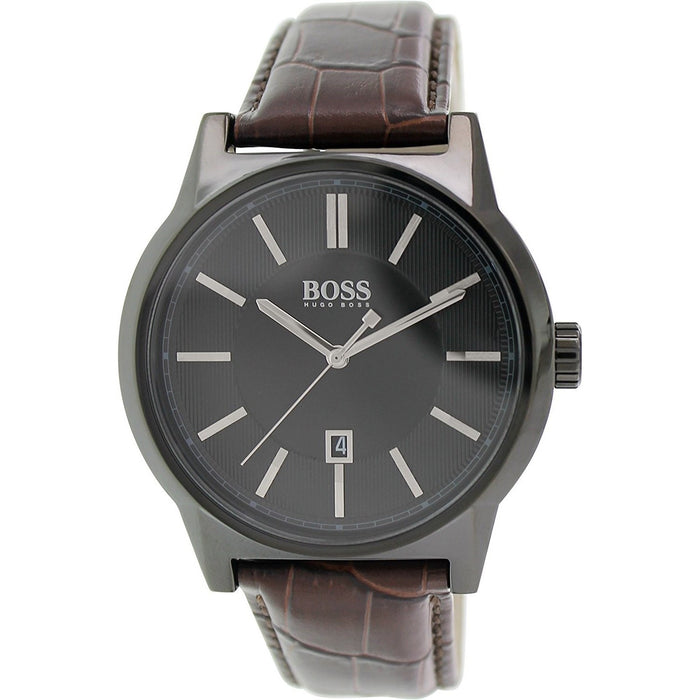 Hugo Boss Men S 1513071 Architecture Brown Leather Watch