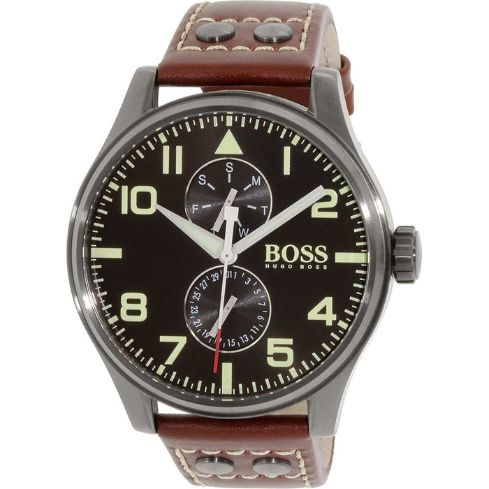 Hugo Boss Men's 1513079 Aeroliner Maxx Multi-Function Brown Leather Watch