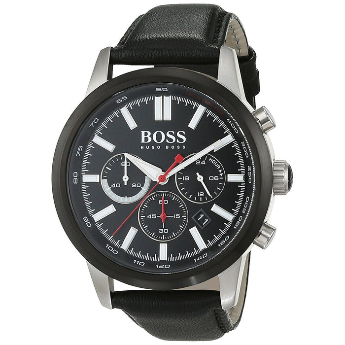 Hugo Boss Men's 1513191 Ambassador Chronograph Black Leather Watch