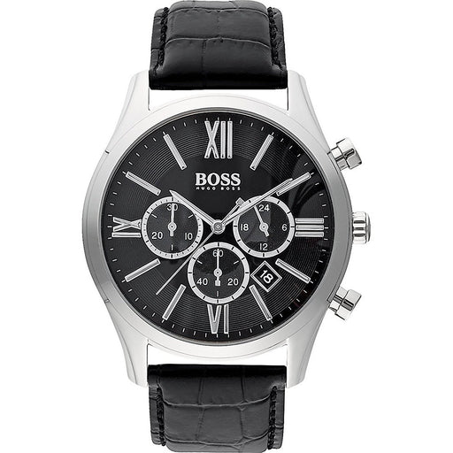 Hugo Boss Men's 1513194 Ambassador Chronograph Black Leather Watch