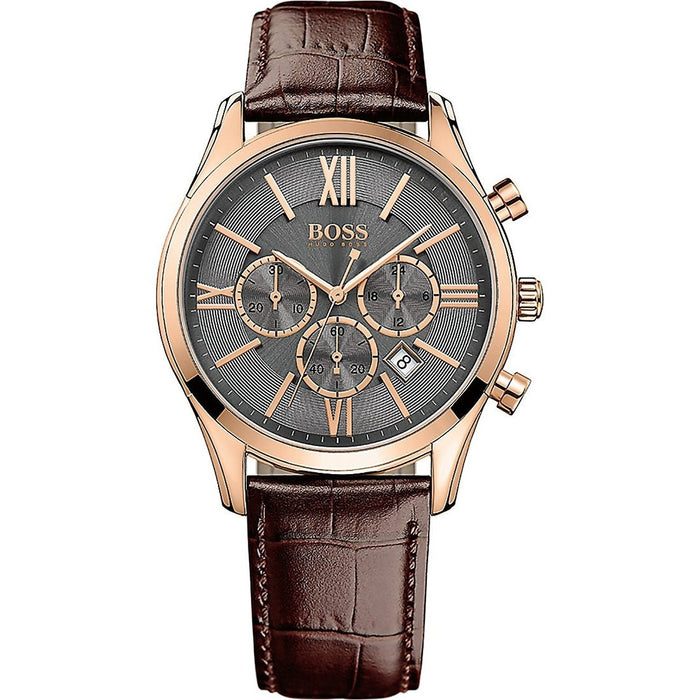 Hugo Boss Men's 1513198 Ambassador Chronograph Brown Leather Watch