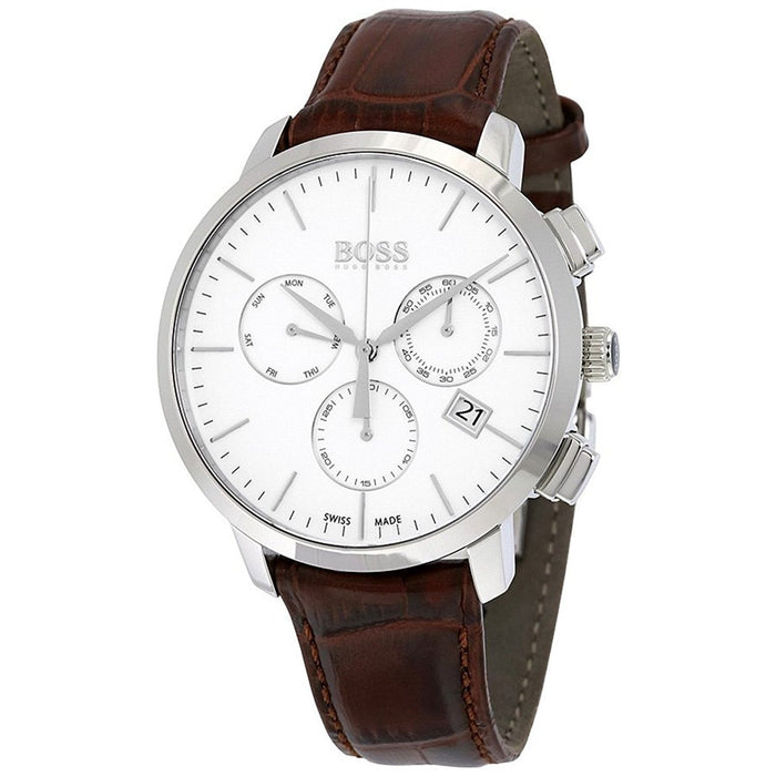 Hugo Boss Men's 1513263 Swiss Made Slim Chronograph Brown Leather Watch