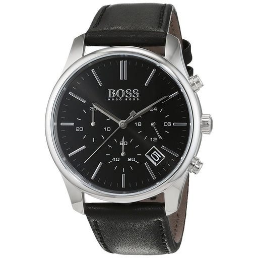 Hugo Boss Men's 1513430 Time one Chronograph Black Leather Watch