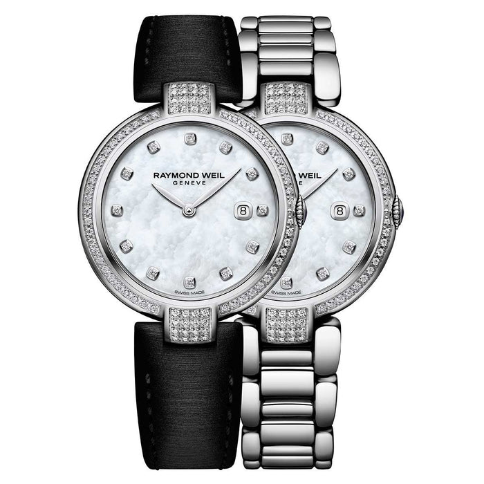 Raymond Weil Women's 1600-SCS-97081 Shine Diamond Interchangeable Black Leather Strap Stainless Steel Watch